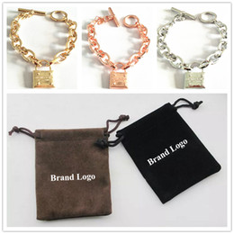 2019 braceletes de ouro branco 24k New York Famoso Designer Pulseiras Cadeado Aleta de Ligação Pulseira Mulheres Famosas Homens Elo Da Cadeia Pulseiras com Bolsas de Jóias
