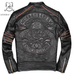 2019 chaqueta punk más tamaño Más el tamaño genuino Retro hecho chaqueta de cuero de vaca hombres punk negro bordado de la vendimia calaveras deshilachadas motocicleta bombardero chaquetas abrigo rebajas chaqueta punk más tamaño