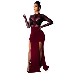 vestidos largos del vendaje de cristal Rebajas Vestidos largos para mujeres Vestido dividido en verano Ambos lados Noche Club nocturno Malla Perspectiva Sexy Falda Ropa de mujer S-2XL