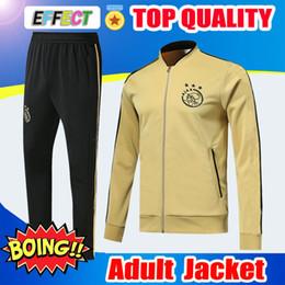 2019 survêtement jaune noir Thaïlande 2019 Survetement Ajax FC Ensemble De Blouson Adulte Jaune Noir Costumes D'entraînement 18/19 Survêtement De Football Chandal Hommes D'uniformes survêtement jaune noir pas cher