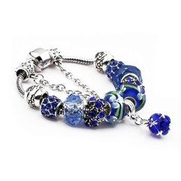 Pandora charme perlen gläser online-Gute Bewertung Charm Armbänder Silber Überzogene Weibliche Fit Pandora Bangles Navy Glasperlen Diamant Kristall Anhänger Legierung Schmuck