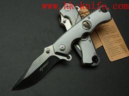 Cuchillo elfo online-Envío libre al por mayor ELF Mono cuchillo plegable 102B 440C hoja 56HRC manija de aluminio exterior EDC herramientas Supervivencia cuchillo peso neto 140g