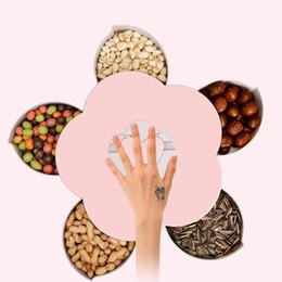 2019 nussteller Kreative Blütenblatt Obstteller Süßigkeiten Aufbewahrungsbox 5 Grids Veränderbar Trockenfrüchte Nüsse Snack Tablett Rotierenden Organizer Lebensmittel Geschenkbox günstig nussteller