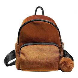 Deutschland Casual Damenrucksack Cord Hair Ball Mini-Rucksäcke für Mädchen Student Travel Schultaschen für Teenager-Mädchen Schulrucksack cheap corduroy bags Versorgung