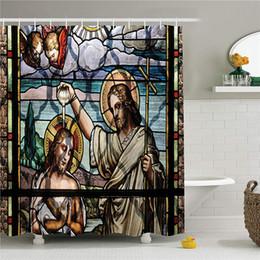 tissu religieux Promotion Rideau de douche religieux, rituel religieux coloré avec paysage impotant historique Art Illustration Illustration, tissu salle de bain Decor Set