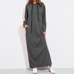 034d3ebb179 Frau M-2XL Normallack mit Kapuze lose Hoodie Maxi-Kleid Frauen beiläufige  kurze lange Ärmel Tasche langes Kleid Pullover