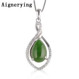 silver jade for men Promo Codes - S925 silver Necklaces Para Vintage for Women Men Necklace inlaid Porte Certificate natural Green Jade Pendant Bijou Gift Box