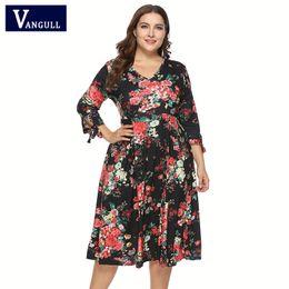 85bc64a241ce Vangull Vintage Plus Size Dress Women Big Size Dress V-neck Bow Floral  Mid-calf Length Ladies Elegant Dresses 2019 New Vestidos