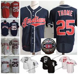 Indiano de beisebol on-line-Índios vintage Jim Thome Jersey 2018 Corredor da Fama Cleveland Baseball Jerseys White Sox 25 Thome Phillies Chicago costurado camisas