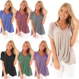Camicette semplici online-T-shirt da donna scollo a V manica corta da donna casual allentata pianura basic T-shirt camicetta S-XXL
