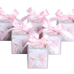 ruban rose faveurs Promotion Marbre Rose Style Faveurs De Mariage Décoration Cadeaux Boîtes De Bonbons avec Ruban Papier Boîte D'emballage Baby Shower Fournitures De Fête De Mariage