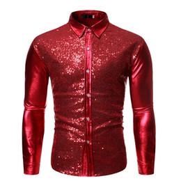 Rote pailletten-tanzkleid-hülse online-Herren Luxus Red Paillettenkleid Shirts Slim Fit Langarm-Shirt Männer Camisa Masculina Bühne Tanz Diskothek Prom Kostüm Homme