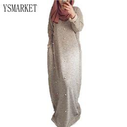 Islamische frauen langarm kleid online-YSMARKET Heißer Verkauf Gestrickte Baumwollperle Islamische Kleidung Frauen Lange Kleider Lässige Türkische Warme Maxi Lose Kleid Abaya Volle Hülse ELR90