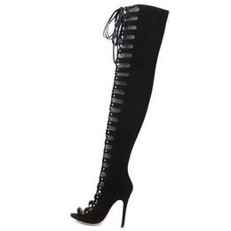 Sobre as sandálias de joelho on-line-Sexy cut-outs lace up coxa alta botas sapatos femininos peep toe stilettos salto alto gladiador sandália sobre o joelho botas mujer 40