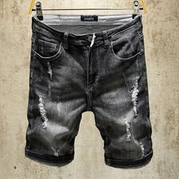 2019 новые джинсы 2019 Летние новые мужские джинсовые шорты, черные цвета джинсовые шорты для мужчин, модельер с коротким рваным рисунком для мужчин, мужские брюки дешево новые джинсы