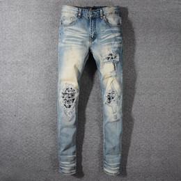 7198e1a1325a3 Mens Ripped Light Blue Skinny Jeans Fashion Designer Patches Distressed Slim  Fit Motorcycle Biker Hole Beggar Hip Hop Denim Pants 579