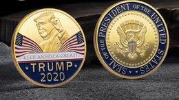2019 disegni di fiori di taglio di carta Grande moda 2020 Donald Trump Moneta Commemorativa presidente americano Avatar monete d'oro d'argento Distintivo Metal Craft Collection repubblicano