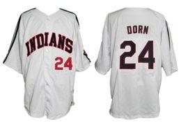 Roger Dorn # 24 Cleveland College Бейсбол Джерси Индейский университет Фильм сшитый пуговицами на заказ любое имя от