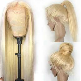 Полный парик шнурка блондинка онлайн-Полный парик шнурка знаменитости парик бразильский парик волос светлые светлые шелковистые прямые жаропрочных ежедневно синтетический парик фронта шнурка