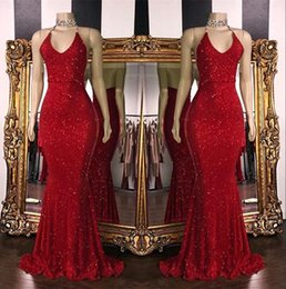 2019 rouge scintillant paillettes sirène robes de bal longue licou dos nu perlé balayage train robes de soirée du parti formel robes de graduation ? partir de fabricateur