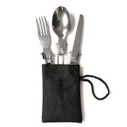 kerosinofen Rabatt 3-teiliges Set portable Edelstahl Folding Gabel, Löffel, Geschirr Kit Outdoor-Camping-Picknick Grill MSD-ING