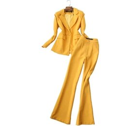 Л колокол онлайн-Women Pant Suits Female Autumn New fashion suit ladies suit jacket + bell-bottom pants two-piece women