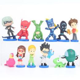 2019 juguetes de enredo PJ Masks Figuras de acción del juego 2-6 cm 12 unids / lote pvc Modelo de dibujos animados pjmasks juguetes para niños