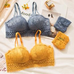 342d320f00237 Roseheart Women Fashion Blue Yellow Sexy Lingerie Wireless Lace Panties  Padded Bras Push Up Bra Sets Underwear A B 36 38 Tassel
