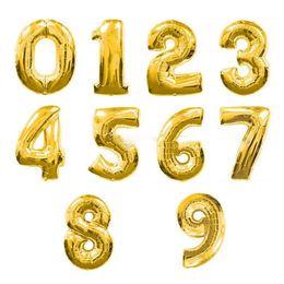 Argentina Empaque al por menor de globos 40 pulgadas Número de oro Globos de revestimiento de aluminio Globos de helio Decoración de cumpleaños Boda Globo de aire Suministros para fiestas Suministro