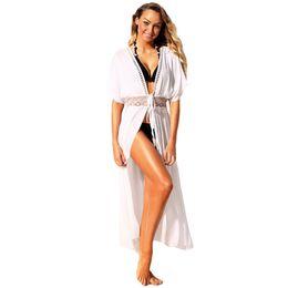 8a17b0b8fd Sexy Women s Swimsuits Lace Hollow Out Beach Cover Up Bandage Maxi Kimino  Cardigan Tunic Bikini Coverups White Khaki Swimwear
