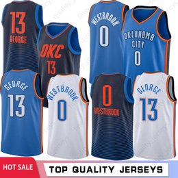 Abbigliamento universitario online-NCAA Paul 13 George College Basketball Maglie Città Mens Russell Westbrook 0 Outdoor Apparel Wear Top 2019