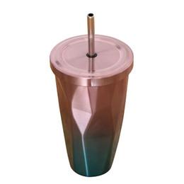 Крышка термос онлайн-Термос Нержавеющая сталь Нержавеющая сталь Горячая и холодная чашка для питья с двойными стенками Кофейная чашка 500 мл Нерегулярный бриллиант с крышкой 025
