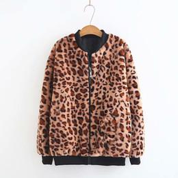 2019 chaqueta recta vintage Mooirue Otoño Invierno Mujer Leopard Coat Straight Escote en V Casual Moda Vintage Loose Coat Mujer Cremallera Fly Girl Outwear Chaqueta rebajas chaqueta recta vintage