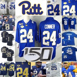 pièces de marine Promotion Panthers Pittsburgh 2019 # 24 James Conner 8 Kenny Pickett 25 McCoy 1 Fitzgerald Pitt Football Bleu marine Royal White NCAA 150TH Patch Jersey