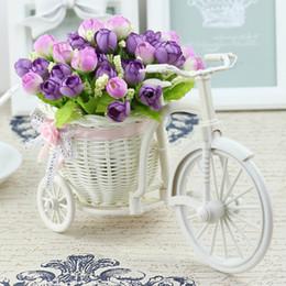 2019 home künstliche blumen für vasen Vase Blumen Künstliche Seidenblume Korb Set für Home Office Dekoration Home Blumen Dekoration für Hochzeit rabatt home künstliche blumen für vasen