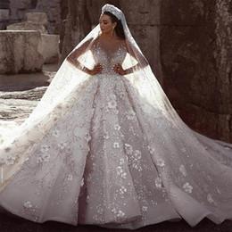 2019 vestidos de casamento de cinderela frisada 2019 estilo de moda lindo frisada de luxo Bola vestido com longos Train Vestidos de casamento nupcial vestido de cristal vestido de casamento
