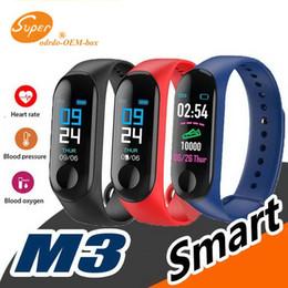Pulso monitor de ritmo cardiaco iphone online-M3 Reloj inteligente Pulsera Frecuencia cardíaca Monitor de presión arterial Pulsera Pulsera Rastreador de ejercicios para Iphone Xiaomi PK mi band 3