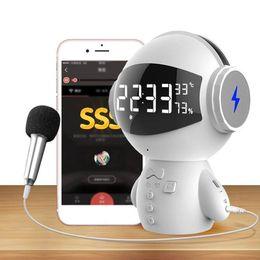 robot lecteur mp3 Promotion Date DingDang Mignon M10 portable Robot Bluetooth Haut-Parleur Stéréo Mains Libres avec banque d'alimentation AUX TF MP3 Lecteur de Musique 30 pcs