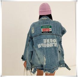 Vestido solto da edição feminina das mulheres on-line-2019 nova denim jaqueta boyfriend jeans para as mulheres high-end personalizado edição han maré solta buraco jeans jaqueta mulheres
