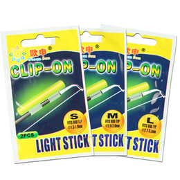 клип рыбалка свечение палочки Скидка Clip On! 10 bags Fishing Glow Stick Tube SS S M L Size Green Fluorescence  Fishing Rod Top Tip Luminous Light Stick FF40