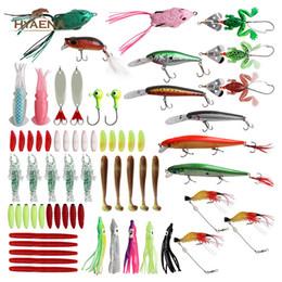 rane di rana Sconti Hyaena 65 Pz / scatola Richiamo di Pesca Kit Metallo Crankbait Minnow Lure Con Rana Pesca Morbida Duro Gancio Testa Jig