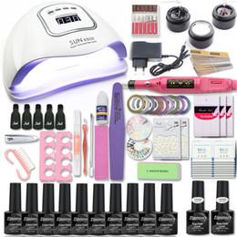 Kit de uñas lámpara uv online-Sistema de manicura de uñas 80W Lámpara de uñas Set 10 Gel Polish instrumentos de extensión kits del gel del arte ULTRAVIOLETA del color para los archivos de la manicura