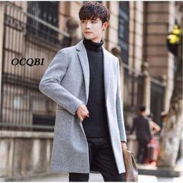 Estilo de casaco de lã dos homens on-line-Plus Siez 3XL 2018 Slim Smart Casual Korean Style Wool Mens Coats Overcoats Fashion Winter Dress Coat Mens