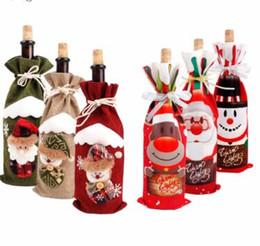 2019 goldstrumpfhalter Weihnachtsschmuck für zu Hause Weihnachtsmann Weinflasche Cover Schneemann Stocking Geschenk Inhaber Xmas Decor New Year günstig goldstrumpfhalter