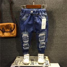 2020 jeans de cintura alta para niños 2 3 4 5 6 años para los muchachos de los pantalones vaqueros espesar elástico de la cintura de los pantalones vaqueros rasgados For Kids alta calidad ocasional de los pantalones del niño Niños bebés Pantalones jeans de cintura alta para niños baratos