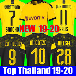 Tailândia qualidade BVB Borussia Dortmund Futebol Jersey 2019 2020 PHILIPP GOTZE REUS PULÍSTICO WITSEL Jersey 18 19 20 PACO ALCACER camisa de Futebol kit cheap thai kits de Fornecedores de kits tailandeses