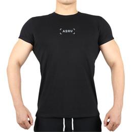 camisa do corpo masculino Desconto Sleeve Verão New curta camiseta Casual em torno do pescoço dos homens de ASRV masculinos esportivos de construção de Body Fitness Hip Hop Tops respirável T-shirt