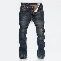 denim scuro denim uomini Sconti Vintage Mens Jeans dritti Button Pocket Designer Mens ansima il modo Distrressed lavato adolescenti Jeans Maschio Abbigliamento
