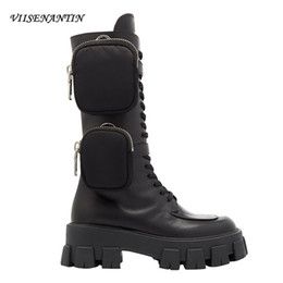 2020 semelles de chaussures VIISENANTIN 2019 Latest Style New Arrival Pocket Motorcycle Boots Handsome Lace Up Thick-soled Black Military Shoes Half Boots T200106 semelles de chaussures pas cher