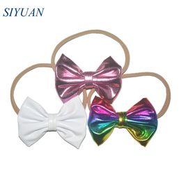 Tan stoff online-16 teile / los 4 '' Weiche Metallic Stoff Candy Bow Stirnband Mode Tan Nude Nylon Stirnband DIY Kopfschmuck HB058